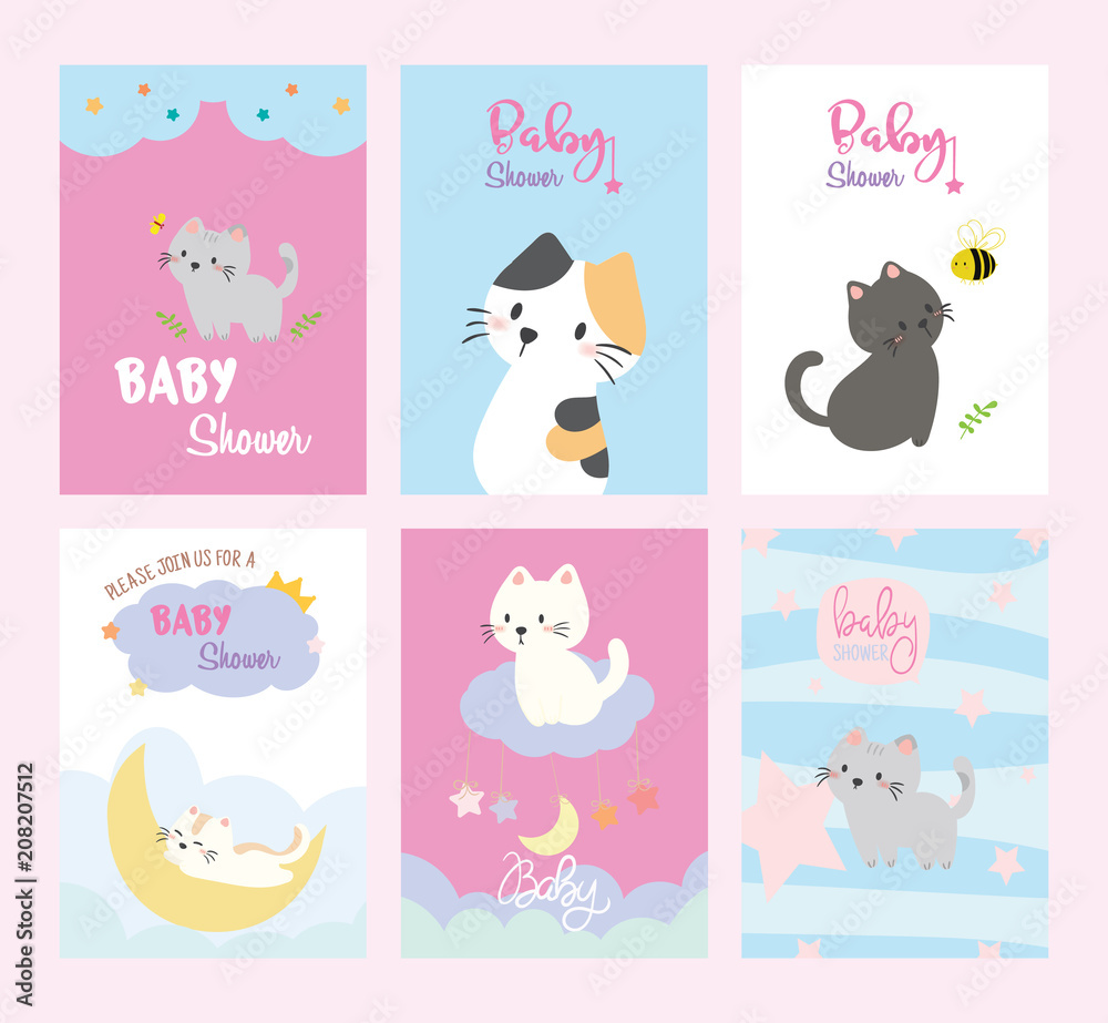 Fototapeta Na ścianę Set Of Baby Shower Invitations Cards Birthday Card Cats Poster Greeting Template Animals Vector Illustrations