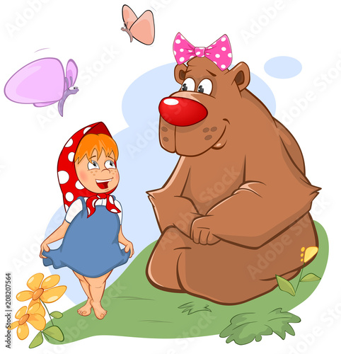 Deurstickers Babykamer Illustration of the Little Girl and the Big Bear. Cartoon
