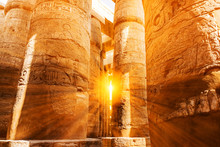 A Sandstone Column In Egypt.  Columns Covered In Hieroglyphics