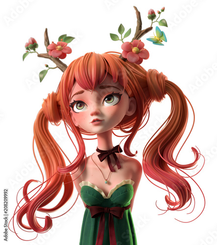 3d cartoon character red-haired girl in a green dress. Dreaming girl with two tails wearing floral antlers. Princess of the forest. Druid girl. Deer girl. Ginger girl. 3d rendering on white background