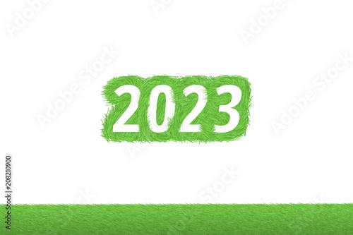 """Poster  """"2023"""" Gras Grüner Text auf weißem Hintergrund"""