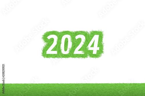 """Fotografia  """"2024"""" Gras Grüner Text auf weißem Hintergrund"""