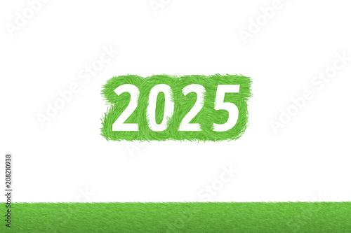 """Poster  """"2025"""" Gras Grüner Text auf weißem Hintergrund"""