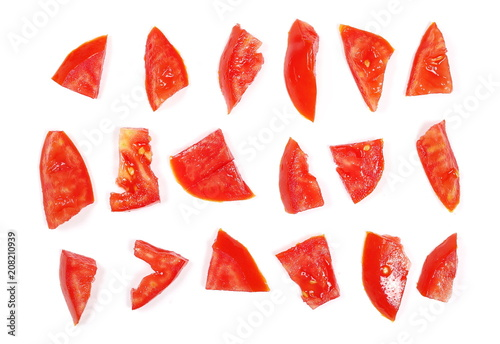 Fresh red tomato slices, set and collection isolated on white background, top vi Poster