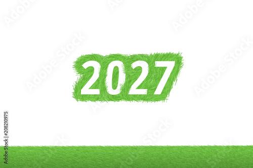 """Fotografia  """"2027"""" Gras Grüner Text auf weißem Hintergrund"""