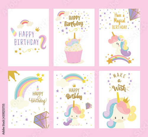 Set Of Happy Birthday Card With Cute Unicorn Greeting
