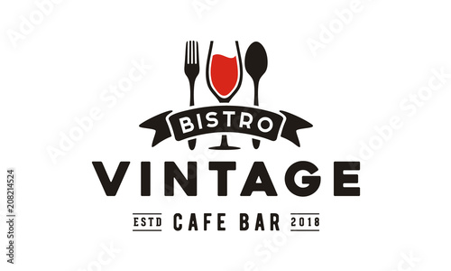 Photo Wine Glass Spoon Fork Restaurant Vintage Retro Bar Bistro with Ribbon Logo desig