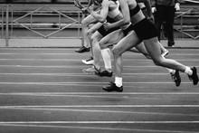 Start Group Women Sprinters Runners Running At 100 Meters