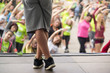 dancing zumba aerodance sh'bam in fitness class in city street