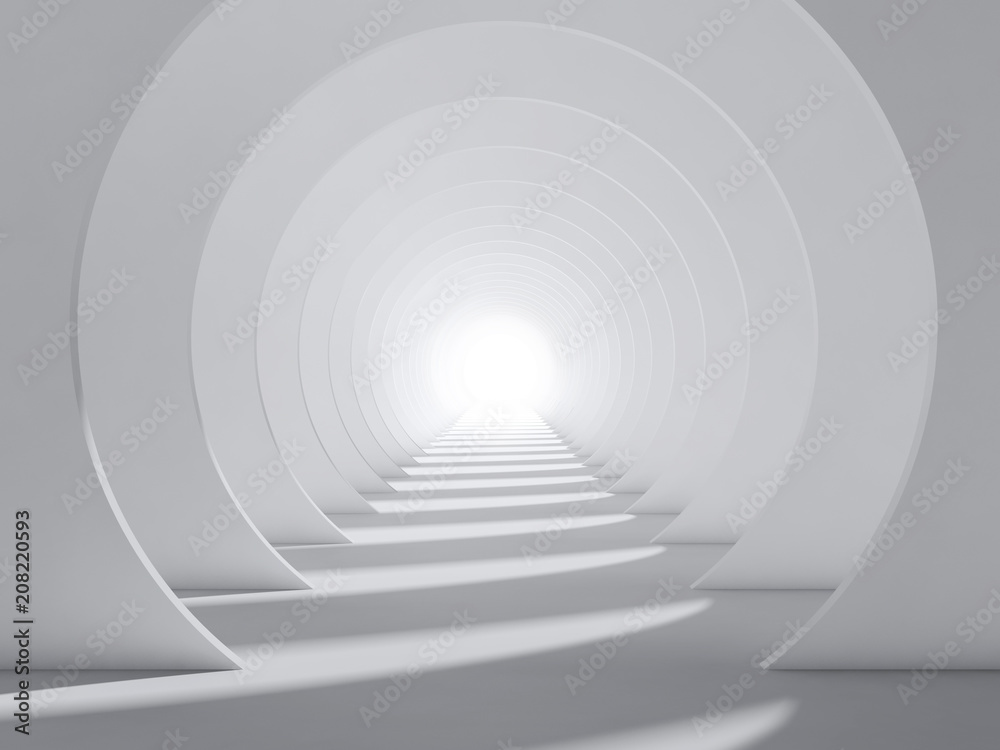 Fototapeta Abstract white 3d round tunnel interior