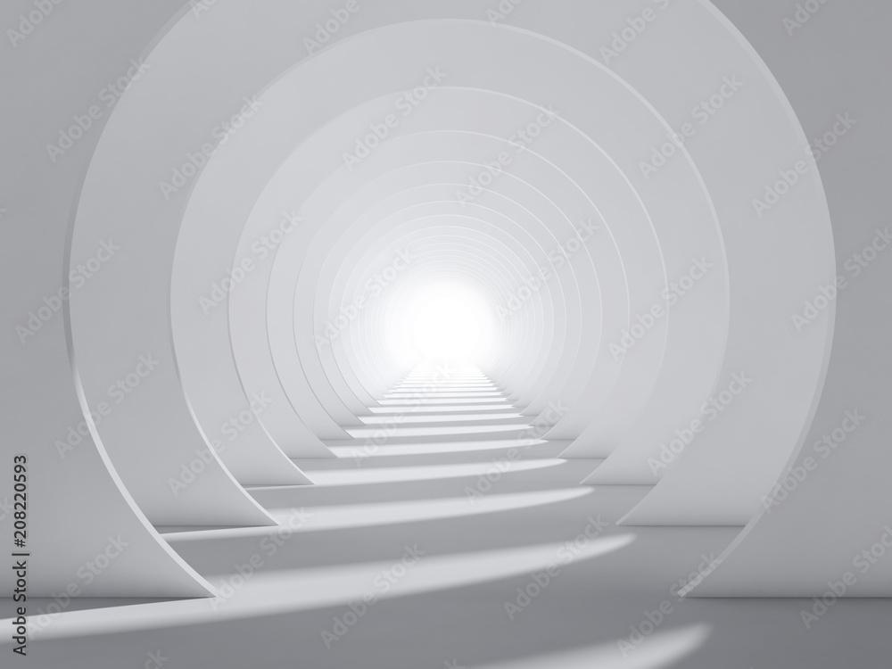 Abstrakcjonistyczny biały 3d round tunelowy wnętrze