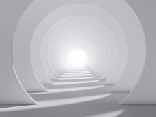 Abstract White 3d Round Tunnel...