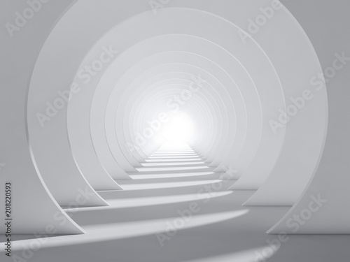 Foto Abstract white 3d round tunnel interior