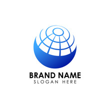 Stylized 3D Spherical Surface. Digital Globe Icon. This Logo Is Suitable For Global Company, World Technologies And Media And Publicity Agencies