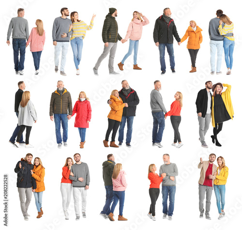 Fotografiet  Collage with couples in casual clothes walking on white background