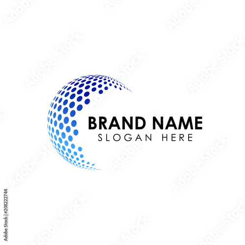 halftone 3D globe logo design vector symbol icon. dotted globe icon Wall mural