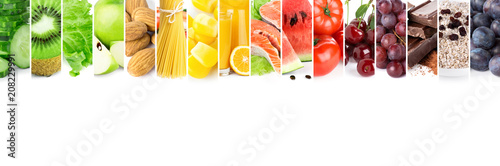 Poster Fruit Collage of mixed fresh color ripe food