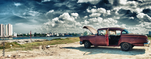 Recess Fitting Havana panoramic view of havana and malecon with old american car parked whit engine ploblem