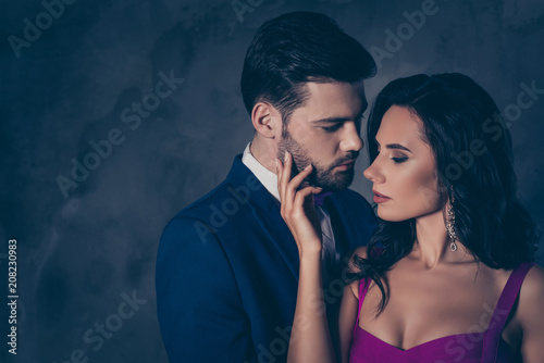 Fotografie, Obraz Portrait of pretty charming mrs in purple dress with jewelry half face mr in tux