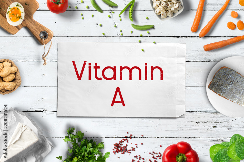 Fototapeta Vitamin A reiche Lebensmittel