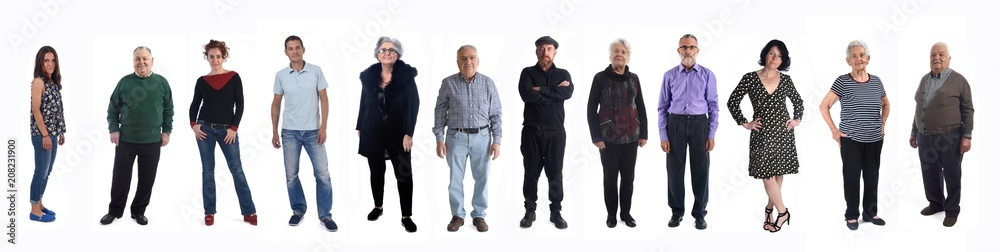 Fototapeta group of people of different ages on white background