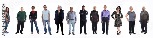 Fototapeta group of people of different ages on white background obraz