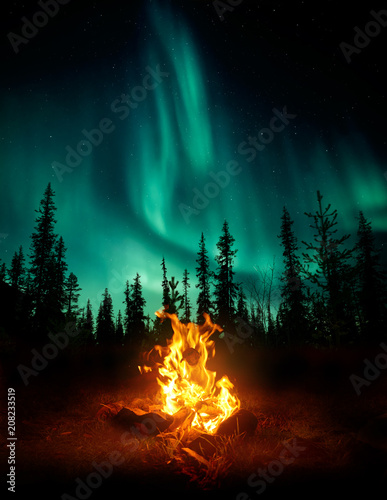 Fotobehang Noorderlicht A warm and cosy campfire in the wilderness with forest trees silhouetted in the background and the stars and Northern Lights (Aurora Borealis) lighting up the night sky. Photo composite.