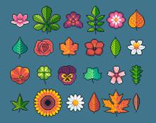Pixel Art Leaves And Flowers V...