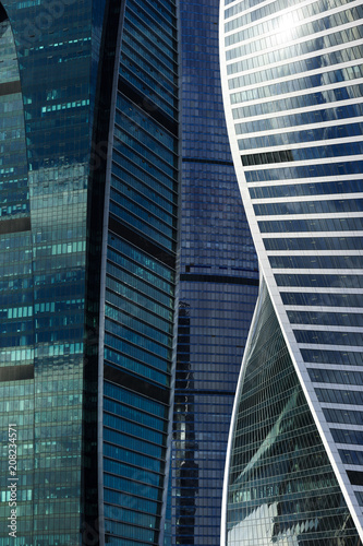 Fotobehang Stad gebouw Skyscrapers, office buildings in business centre of city, modern glass architecture in commercial downtown, future design abstraction