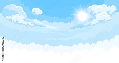Foto auf AluDibond Blau Sky background with sun and white bottom