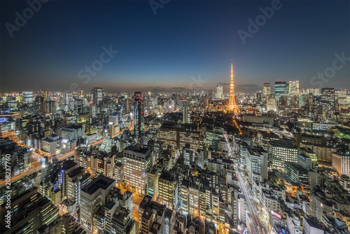 Fotobehang Stad gebouw Tokyo city view with Tokyo Tower at night