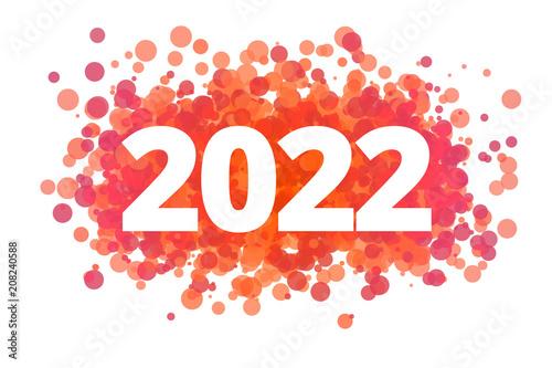 Jahr 2022 - dynamische rote Punkte Plakat