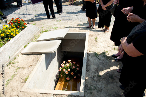 Funeral in the Cemetary Canvas Print
