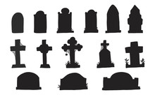 Set Of Grave Marker Vector On White Background.cemetery Mark Silhouette By Hand Drawing.