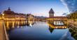 canvas print picture - Luzern Stadtansicht Panorama mit Kappelbrücke, Schweiz