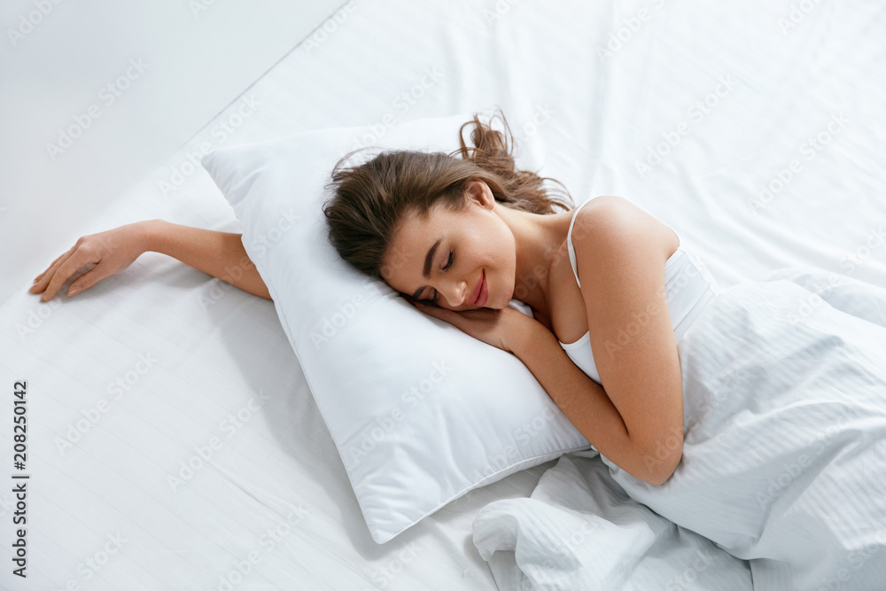 Fototapety, obrazy: Pillows. Woman Resting On White Pillow Sleeping In Bed