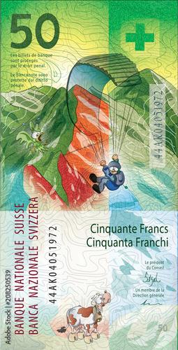 Fotografia, Obraz 50 Swiss Francs. Cartoon version