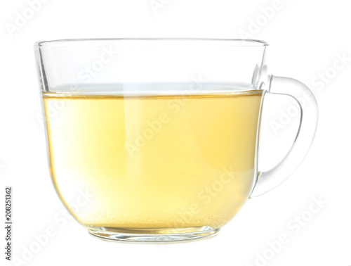 Aluminium Prints Tea Cup of hot aromatic tea on white background
