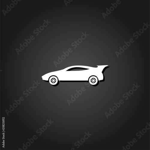 Fototapeta Sport car icon flat. Simple White pictogram on black background with shadow. Vector illustration symbol obraz na płótnie