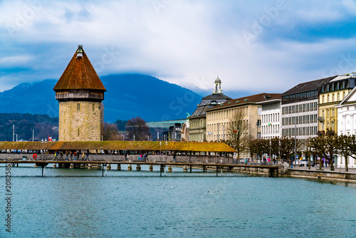 View of the Historic City of Lucerne with the Famous Chapel Bridge and Lake Luce Poster