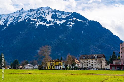 Beautiful landscape of Alps Mountain and the famous village of Interlaken