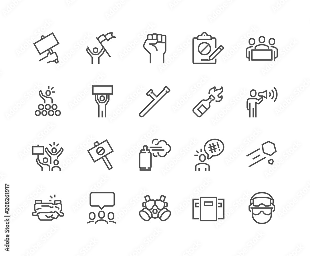 Fototapety, obrazy: Simple Set of Protest Related Vector Line Icons. Contains such Icons as Petition, Police Forces, Riot, Strike and more. Editable Stroke. 48x48 Pixel Perfect.