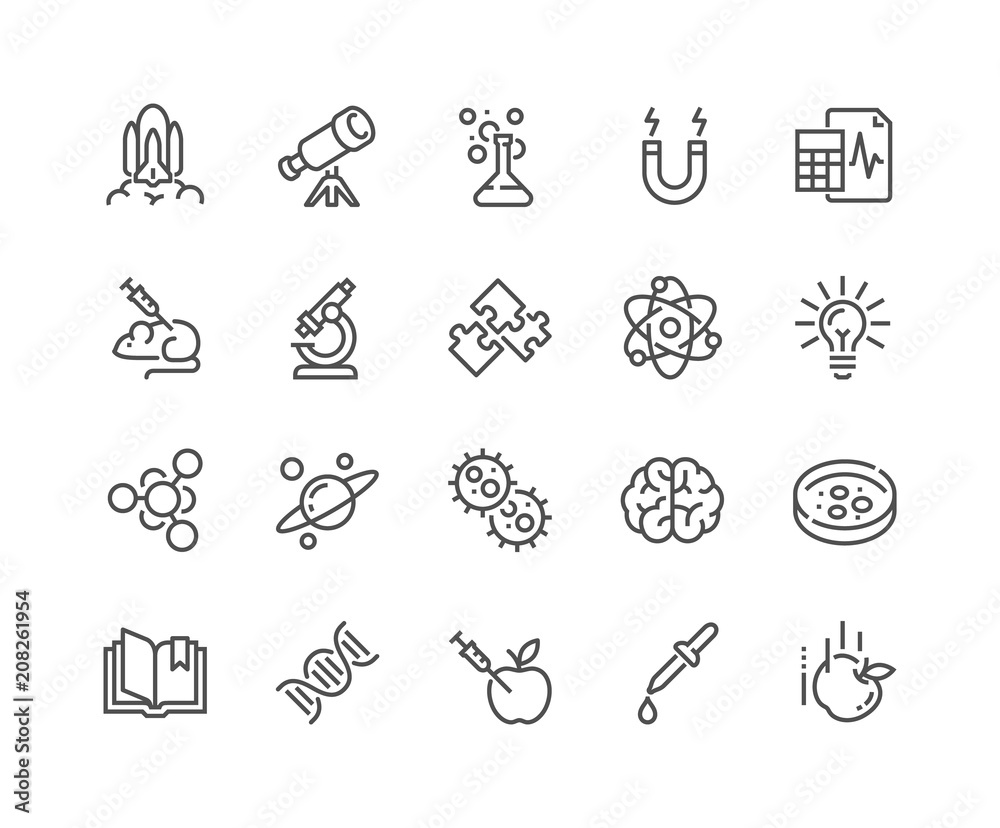Fototapety, obrazy: Simple Set of Science Related Vector Line Icons. Contains such Icons as Biology, Astronomy, Physics, Science Test, Lab and more. Editable Stroke. 48x48 Pixel Perfect.