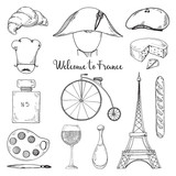 Set of elements of French culture. Welcome to France. Vector illustration in sketch style. - 208263307