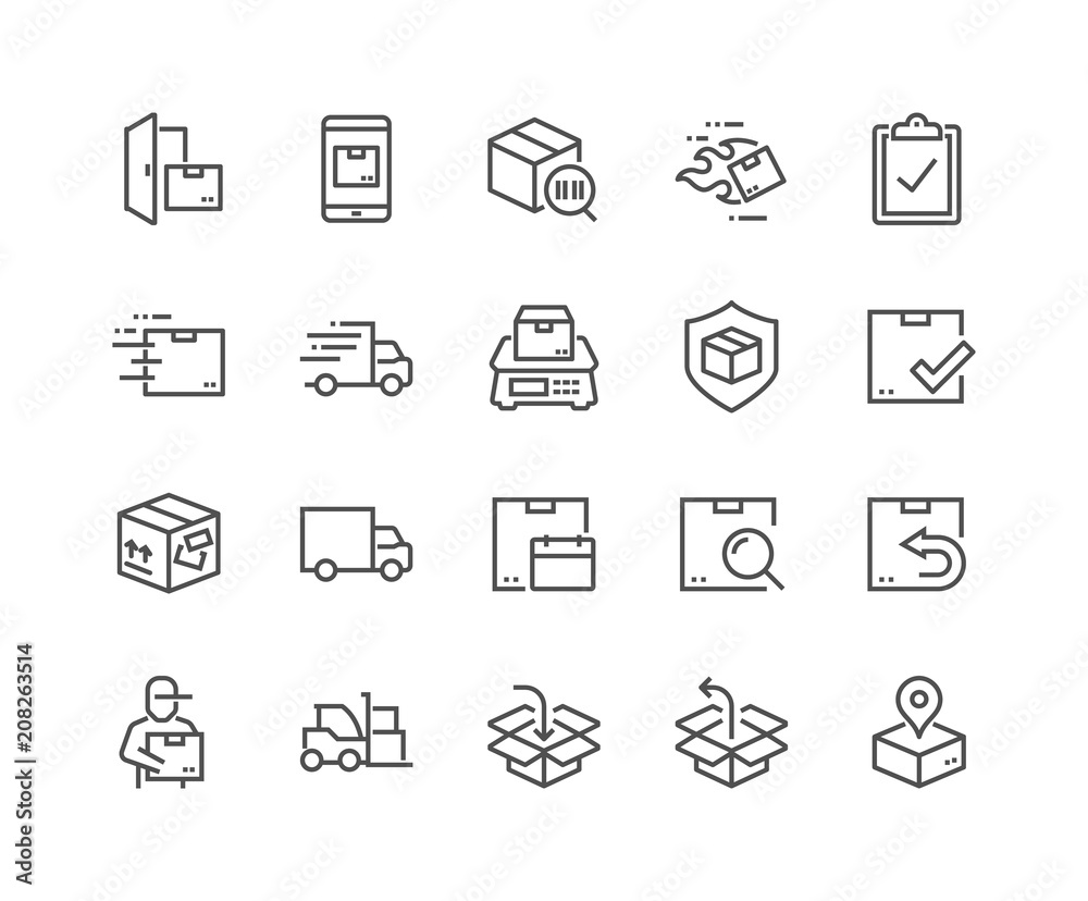 Fototapeta Simple Set of Shipping Related Vector Line Icons. Contains such Icons as Courier, Package Protection, Return and more. Editable Stroke. 48x48 Pixel Perfect.
