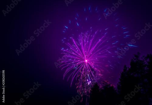 Poster Pleine lune New Year's fireworks.