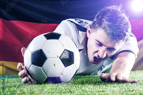 Fussball Spieler Am Boden Faul Jubel Schwalbe Konzept