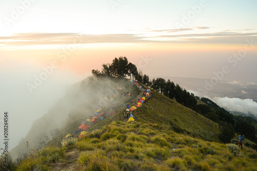 Keuken foto achterwand Beige high camp before summiting mount rinjani.