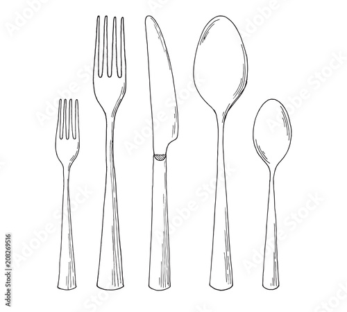 Photographie Set of cutlery. Sketch. Vector illustration