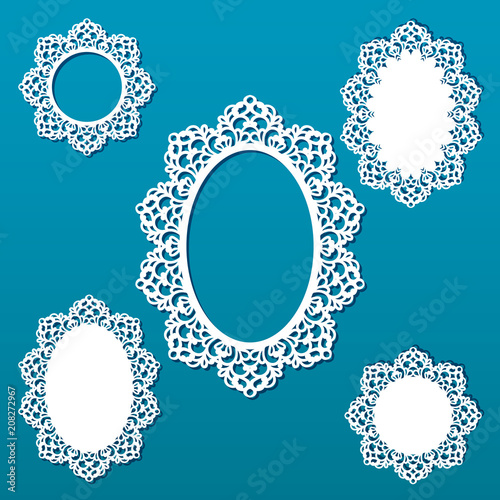 5c91ea4e500f Laser cut vector frame collection. Set of abstract oval and round frames  with swirls